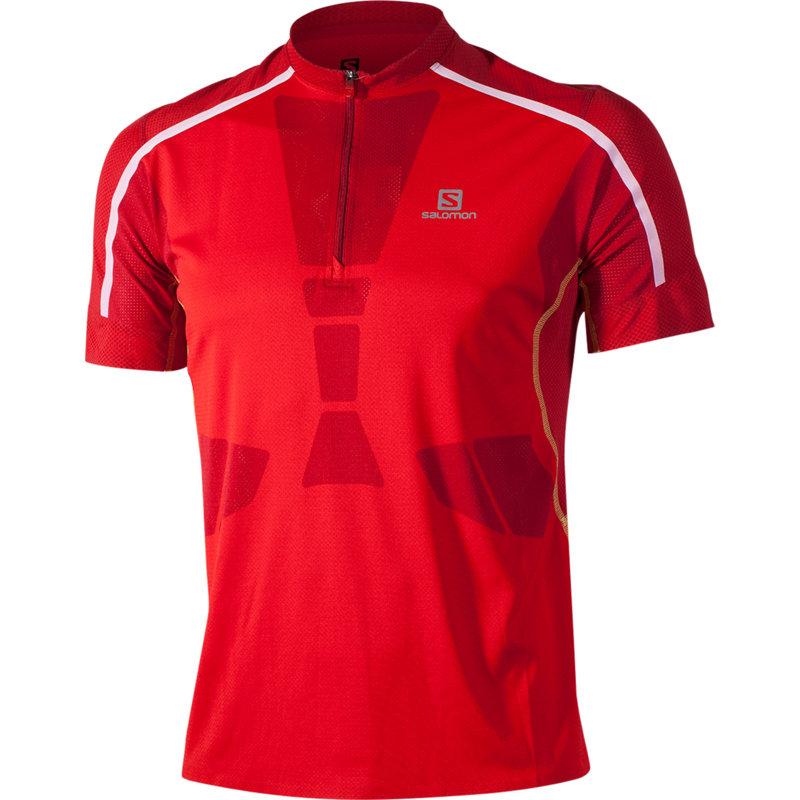 NEU-Salomon-Sky-Tee-Herren-Laufshirt-Rot