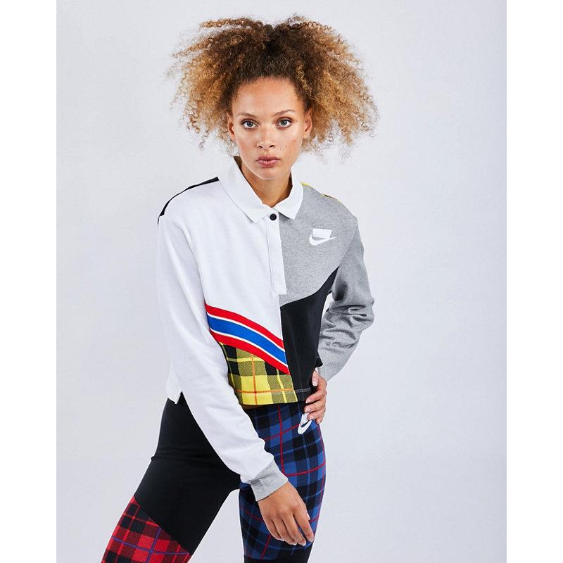Nike Plaid - Damen Polo Shirts | Bekleidung > Shirts > Poloshirts | White | Baumwolle | Nike