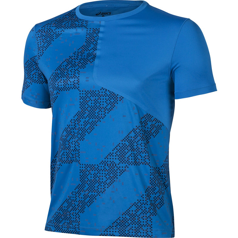 asics Lite-Show kurzarm Top Herren Laufshirt blue - broschei